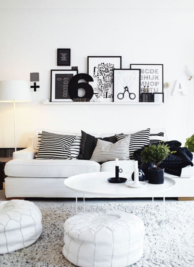 BLACK AND WHITE LIVING ROOM Idea