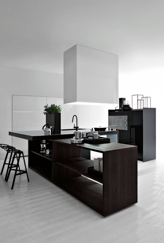 Black and White Open Kitchen