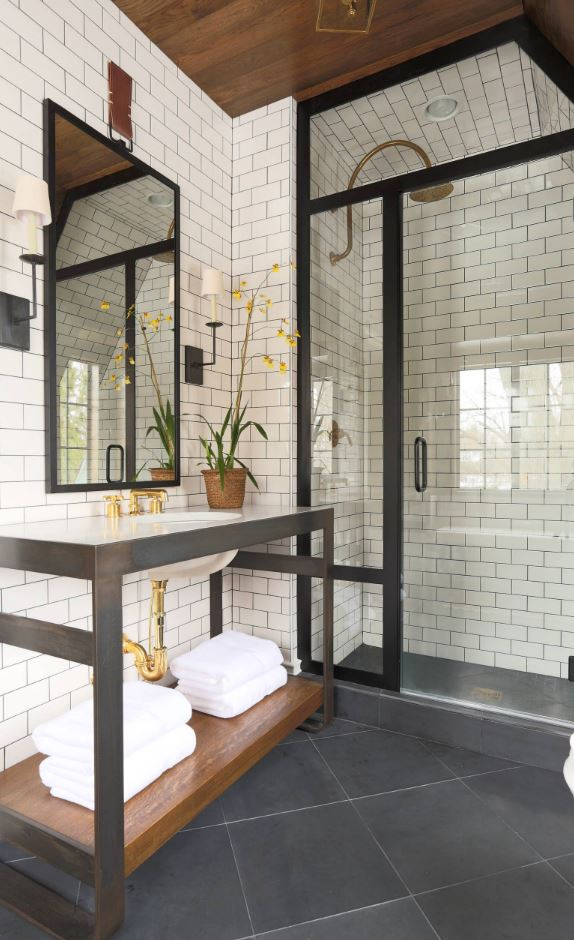 Black and White Walk-in Shower