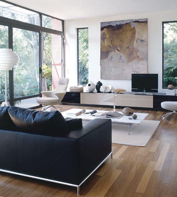 SIMPLE LIVING ROOM DESIGN WITH A BLACK AND WHITE COLOR SCHEME