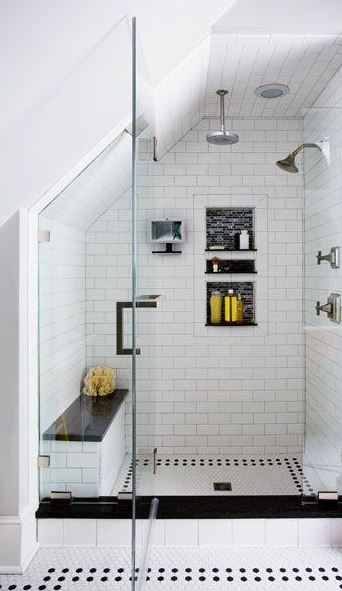 black-and-white-tiled shower