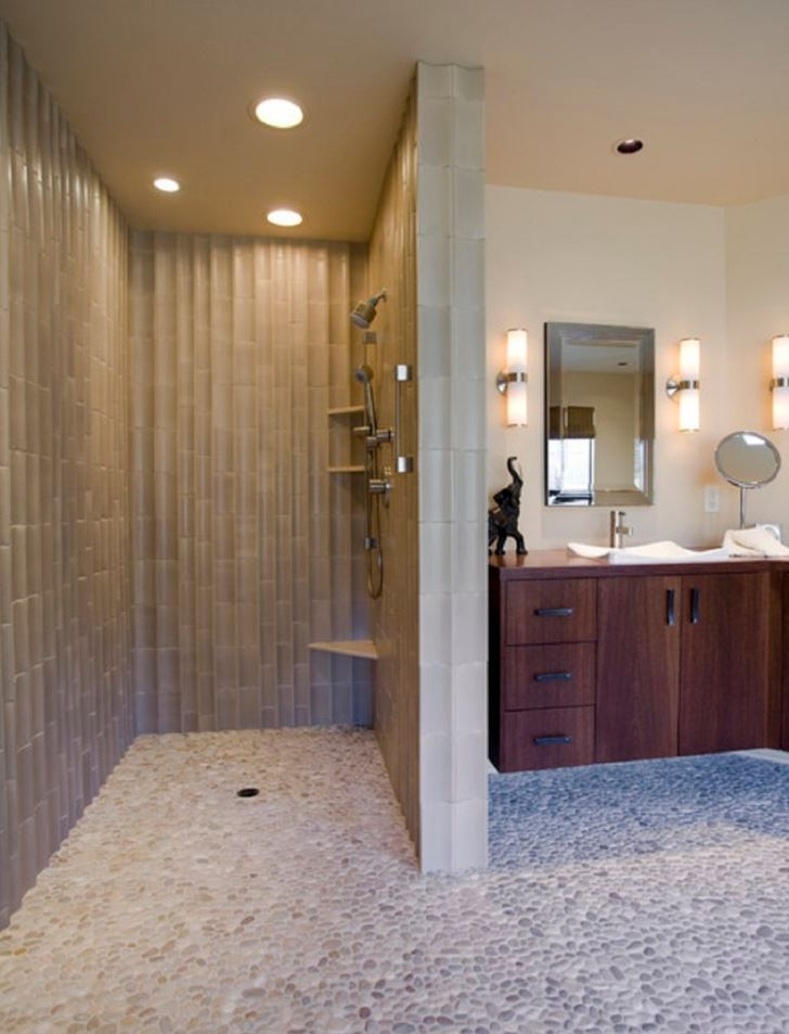 Brown Marble Walk in Shower