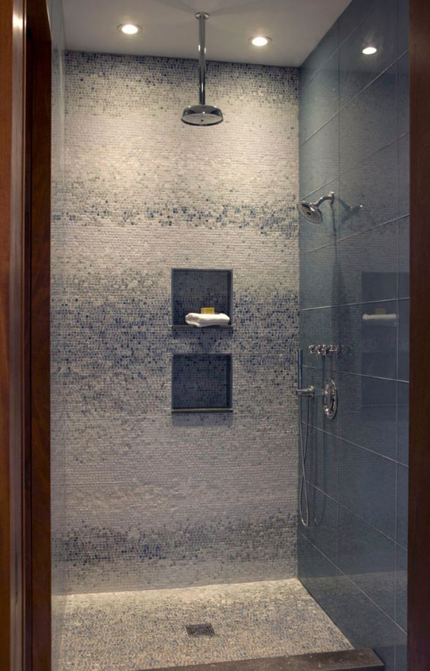 Siver Grey Mosaic Walk in Shower