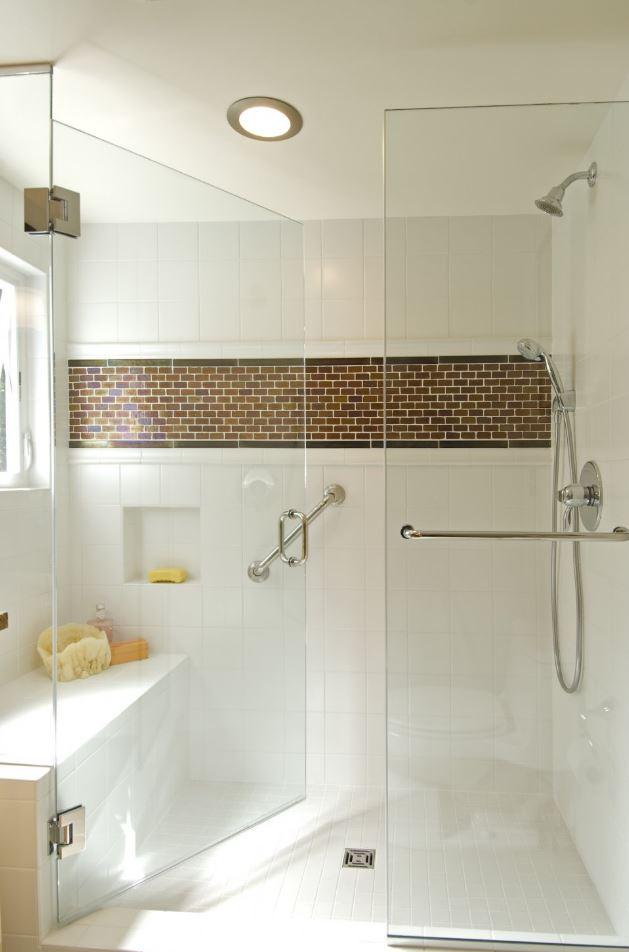 White and Modern Walk in Shower