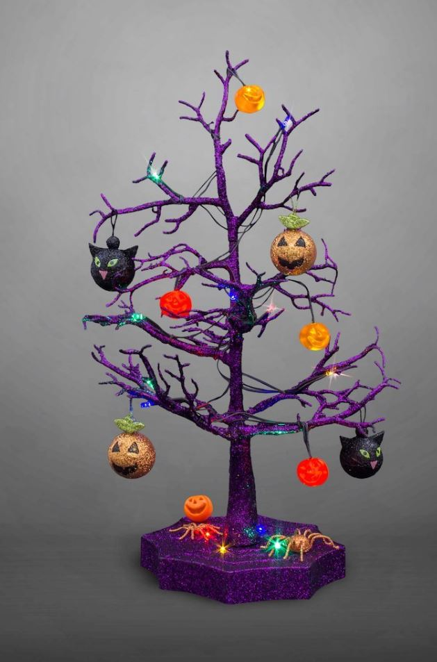 Halloween LED Sparkle Tree with Cats, Pumpkins And Spiders